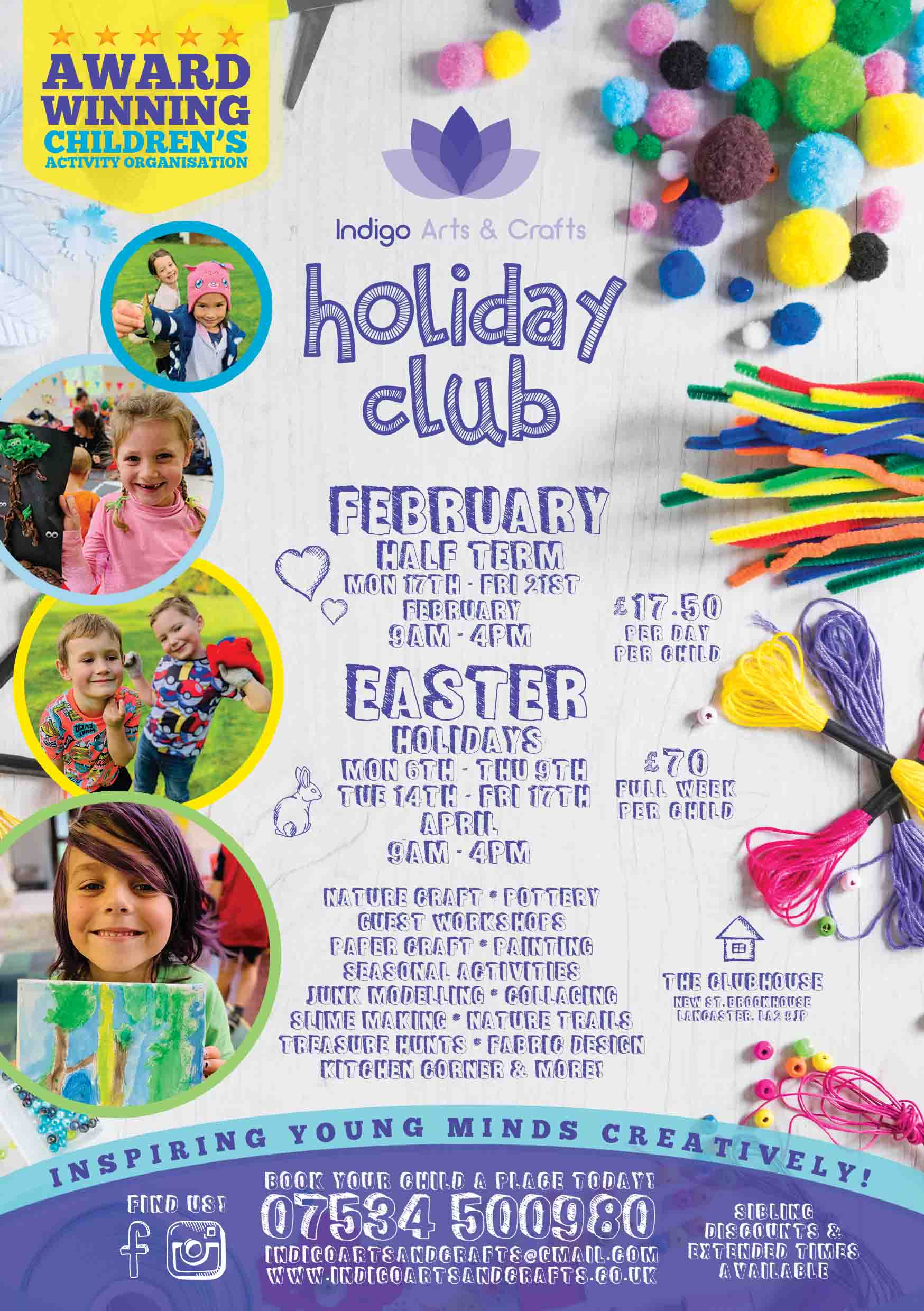 Arts and crafts holiday club leaflet